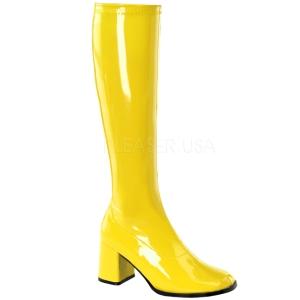 Amarillo Lacado 7,5 cm Funtasma GOGO-300 Botas Media Mujer