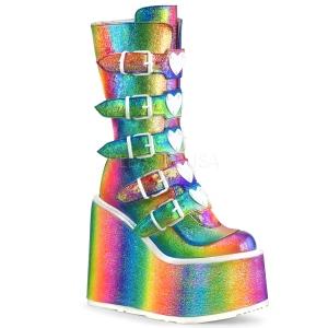 Arco iris Glitter 14 cm SWING-230 botas cyberpunk plataforma