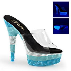 Azul 15 cm DELIGHT-601UVS neon plataforma zuecos tacón mujer