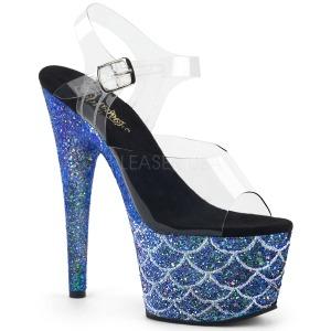 Azul 18 cm ADORE-708MSLG brillo plataforma sandalias de tacón alto