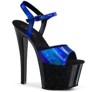 Azul 18 cm SKY-309HG Holograma plataforma sandalias de tacón alto