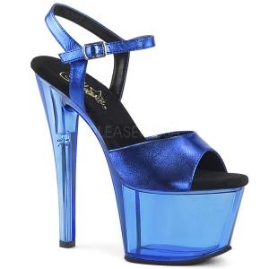 Azul 18 cm SKY-309MT Acrilico Plataforma Sandalias Tacón Mujer