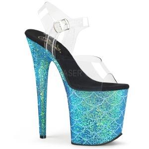 Azul 20 cm FLAMINGO-808MSLG brillo plataforma sandalias de tacón alto