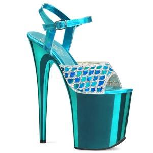 Azul 20 cm FLAMINGO-809MMRS brillo plataforma sandalias de tacón alto