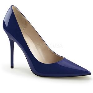 Azul Charol 10 cm CLASSIQUE-20 Stiletto Zapatos Tacón de Aguja