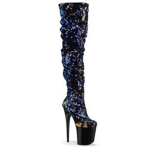 Azul Lentejuelas 20 cm FLAMINGO-3004 botas altas overknee plataforma pole dance