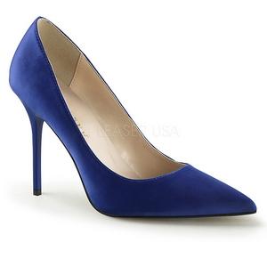 Azul Satinado 10 cm CLASSIQUE-20 Stiletto Zapatos Tacón de Aguja