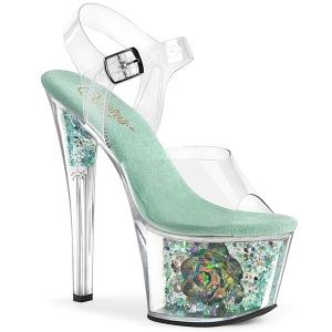 Azul transparente 18 cm SKY-308CF Zapatos de striptease
