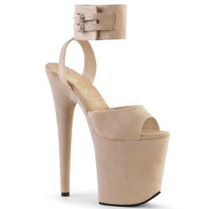 Beige 20 cm FLAMINGO-891 gamuza plataforma sandalias de tacón alto