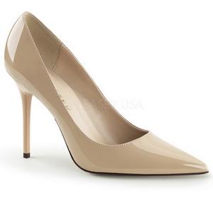Beige Charol 10 cm CLASSIQUE-20 Stiletto Zapatos Tacón de Aguja