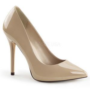 Beige Charol 13 cm AMUSE-20 zapatos tacón de aguja puntiagudos