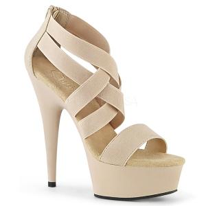Beige banda elástica 15 cm DELIGHT-669 calzado pleaser con tacón de mujer