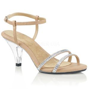 Beige piedras strass 8 cm BELLE-316 Zapatos para travestis