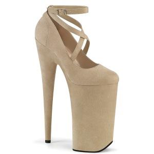 Beige vegano suede 25,5 cm BEYOND-087FS zapatos de salón plataforma tacones extremos