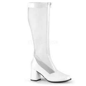 Blanco 7,5 cm GOGO-307 malla botas de mujer tacón altos