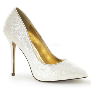 Blanco Brillo 13 cm AMUSE-20G Zapato Salón de Noche con Tacón