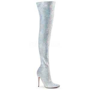 Blanco Brillo 13 cm COURTLY-3015 botas altas pleaser
