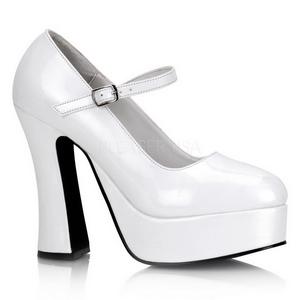 Blanco Charol 13 cm DOLLY-50 Mary Jane Plataforma Zapatos de Salón