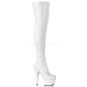 Blanco Charol 18 cm ADORE-3000 over knee botas altas con tacón