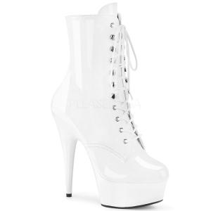 Blanco Lacado 15,5 cm DELIGHT-1020 Plataforma botines altos mujer