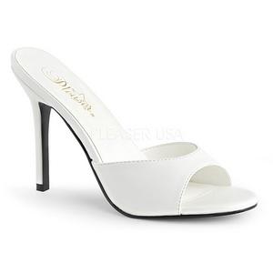 Blanco Polipiel 10 cm CLASSIQUE-01 zapatos de zuecos tallas grandes