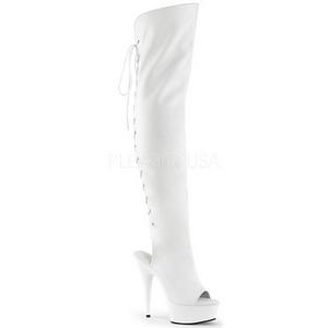 Blanco Polipiel 15 cm DELIGHT-3019 Botas Altas Plataforma