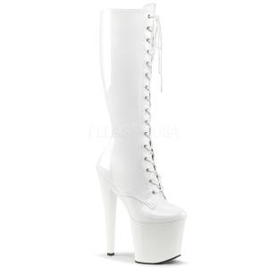 Blanco Polipiel 19 cm TABOO-2023 plataforma botas de mujer con cordones
