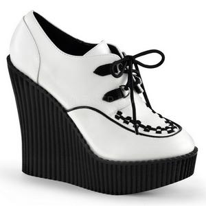 Blanco Polipiel CREEPER-302 zapatos de cuñas creepers mujer