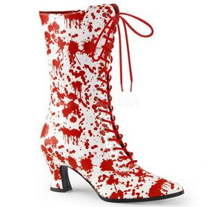 Blanco Rojo 7 cm VICTORIAN-120BL Botines de Cordones Altos Mujer