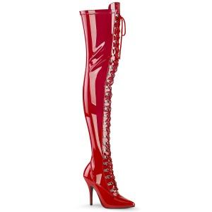 Charol rojo 13 cm SEDUCE-3024 botas por encima de la rodilla con cordones