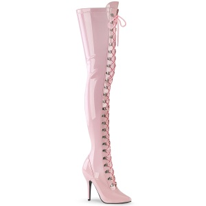 Charol rosas 13 cm SEDUCE-3024 botas altas tacón de aguja para hombres