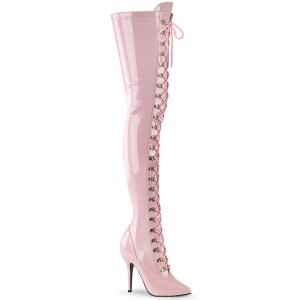 Charol rosas 13 cm SEDUCE-3024 botas por encima de la rodilla con cordones
