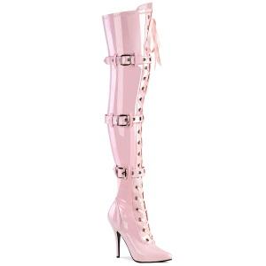 Charol rosas 13 cm SEDUCE-3028 botas por encima de la rodilla con cordones