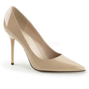 Crema Charol 10 cm CLASSIQUE-20 Stiletto Zapatos Tacón de Aguja
