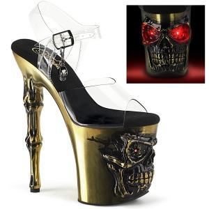 LED Plataforma cráneo 20 cm Zapatos de tacón altos transparentes - copper