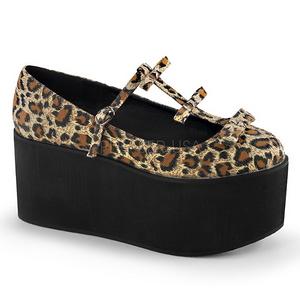 Leopardo lona 8 cm CLICK-08 zapatos góticos calzados suela gruesa
