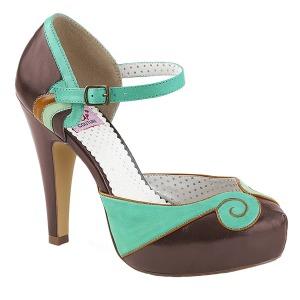 Marron 11,5 cm retro vintage BETTIE-17 Pinup zapatos de salón con plataforma escondida