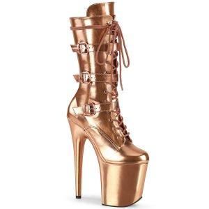 Metálico 20 cm FLAMINGO-1053 botas de plataforma y hebillas oro