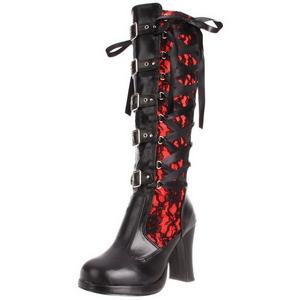 Negro 10 cm CRYPTO-106 plataforma botas de mujer con hebillas