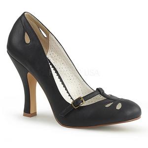 Negro 10 cm SMITTEN-20 Pinup zapatos de salón tacón bajo