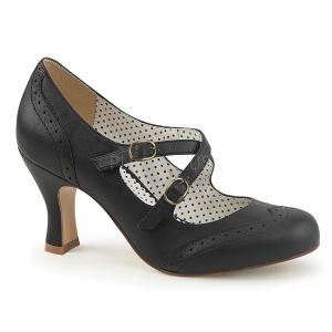 Negro 7,5 cm retro vintage FLAPPER-35 Pinup zapatos de salón tacón bajo