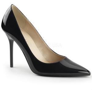 Negro Charol 10 cm CLASSIQUE-20 Stiletto Zapatos Tacón de Aguja