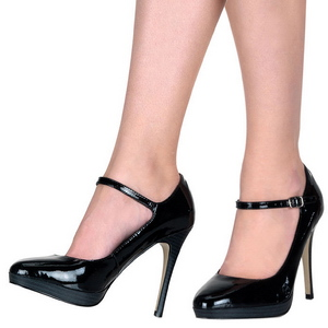 Negro Charol 11 cm BLISS-31 Zapatos mary jane con tacón stiletto