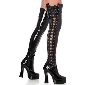Negro Charol 13 cm ELECTRA-3050 over knee botas altas con tacón