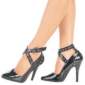 Negro Charol 13 cm SEDUCE-443 zapatos de salón tacón bajo