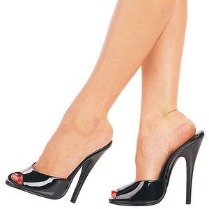 Negro Charol 15 cm DOMINA-101 Mulas Tacones Altos Mujer