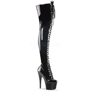 Negro Charol 18 cm ADORE-3023 Botas de mujer hasta la rodilla
