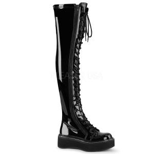 Negro Charol 5 cm EMILY-375 botas por encima de la rodilla con cordones