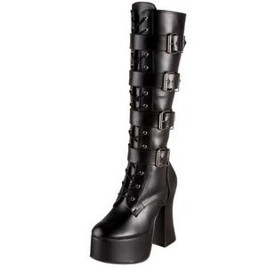 Negro Mate 12 cm SLUSH-225 Botas de Cordones Mujer