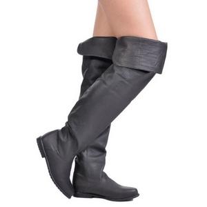 Negro Piel 8 cm RAVEN-8826 over knee botas altas con tacón